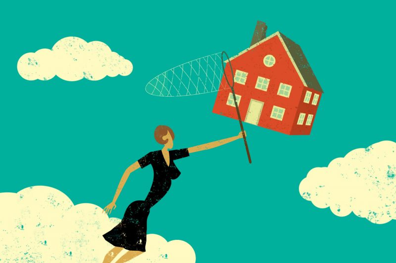 Brightly colored illustration of a woman with a butterfly net trying to catch a house